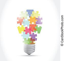 lumière, puzzle, idée, illustration, morceau, bulb.