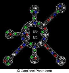 lumière, réseau, entiers, bitcoin, taches, maille, clair, noeud