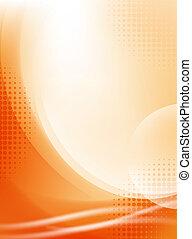 lumière, résumé, halftone, fond, écoulement, orange