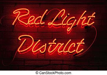 lumière, rouges, district