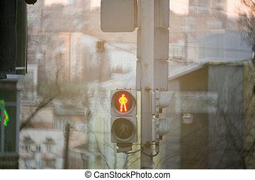 lumière, rouges, piétons, trafic