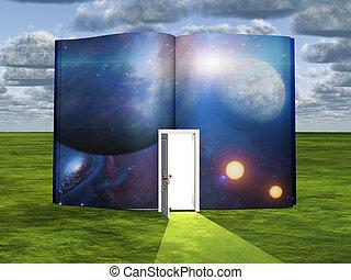 lumière, scène, fiction, porte, livre, science, ouvert