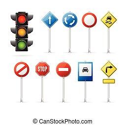 lumière, set., signe, vecteur, trafic, route