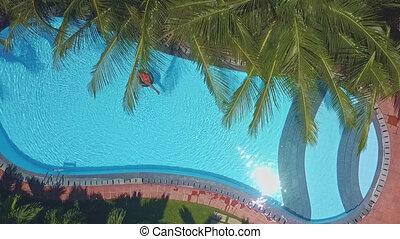lumière soleil, eau, luisant, reflète, surface, piscine