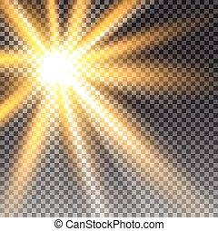 lumière soleil, transparent, vecteur