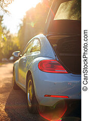 lumière soleil, voiture, sentier, ouvert, côté, photographie, vue, trunk., voyager, arrière, sur