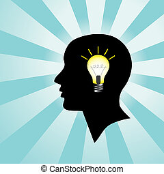 lumière, tête, ampoule