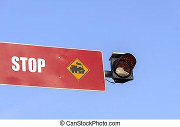 lumière, train, arrêt, rouges, signe