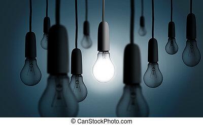 lumière, une, lit, ampoule, haut