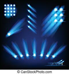 lumière, vecteur, éléments, étape