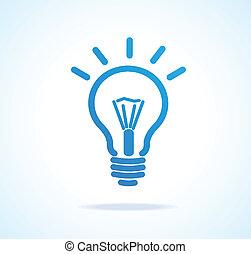 lumière, vecteur, ampoule, icône