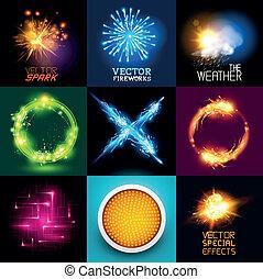 lumière, vecteur, effets, collection