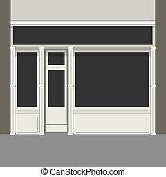 lumière, windows., shopfront, facade., noir, vector., magasin