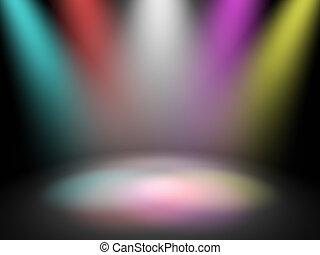 lumières, étape, disco