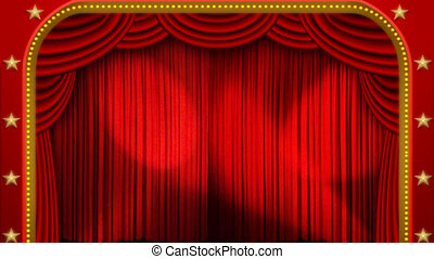 lumières, &, étape, théâtre, rideau