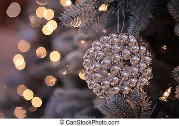 lumières arbre, décorations, année, nouveau, noël