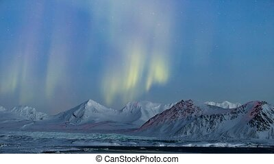 lumières, arctique, paysage, nord