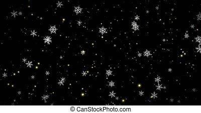 lumières, arrière-plan., doré, canal, render, alpha, flocons neige, noir, 3d, bokeh, confetti, noël, blanc, image