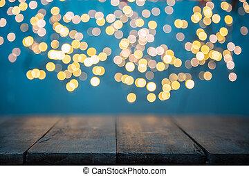 lumières, bois, doré, tache, résumé, brouillé