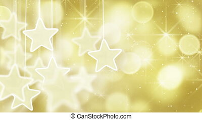 lumières, bokeh, étoiles, or, boucle