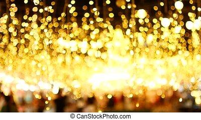 lumières, bokeh, doré, noël