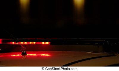 lumières clignotantes, police, sombre, voiture