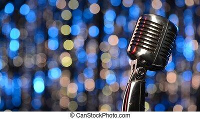 lumières, closeup, fond, microphone, retro, brouillé
