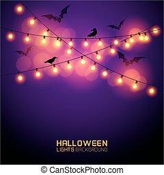 lumières, incandescent, halloween