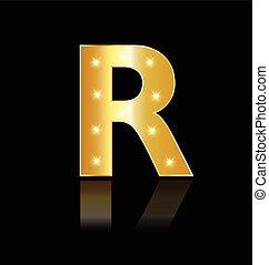 lumières, incandescent, r, lettre, logo