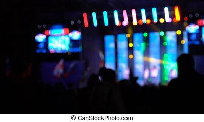 lumières, lieu, concert, coloré, nuit