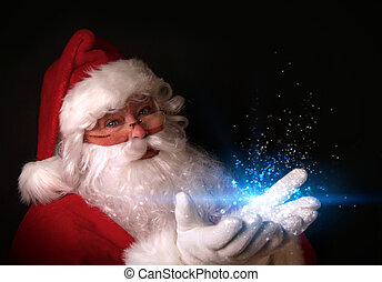 lumières, mains, magique, santa, tenue