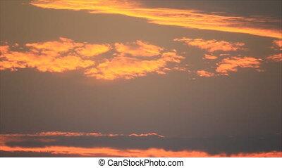 lumières, nuages, coucher soleil