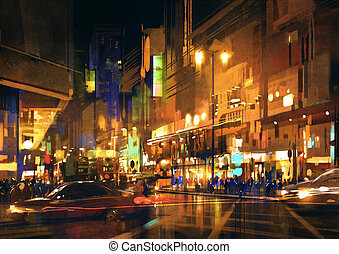 lumières, nuit, coloré, rue