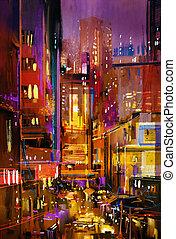 lumières, nuit, coloré, ville