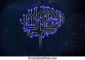 lumières, puce, mené, circuit, cerveau