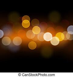 lumières, résumé, defocused, fond, fête