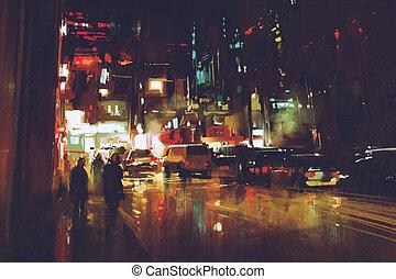 lumières, rue, coloré, nuit