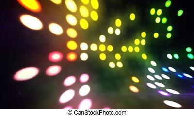lumières, scène, boucle, disco