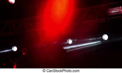 lumières, smoke., flashing., blanc lumineux, rouges, étape