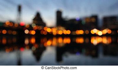 lumières ville, bokeh, nuit, portland