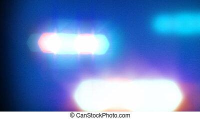 lumières, voiture, police, clignotant