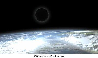 lune, éclipse, space., vue