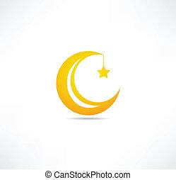 lune, étoile, icône