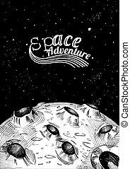 lune, aventure, surface, espace