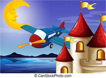 lune, avion, château, dormir