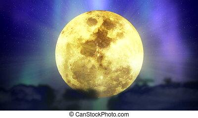 lune, boucle, étoiles, espace