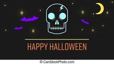 lune, heureux, texte, noir, crâne, chauves-souris, contre, halloween, fond