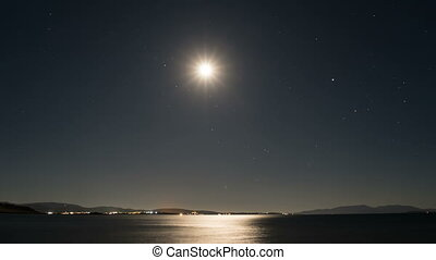 lune, idiot, au-dessus, calme, mer, sentier, clair lune, surface