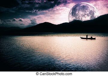 lune, -, lac, fantasme, bateau, paysage