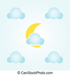 lune, nuages, icône
